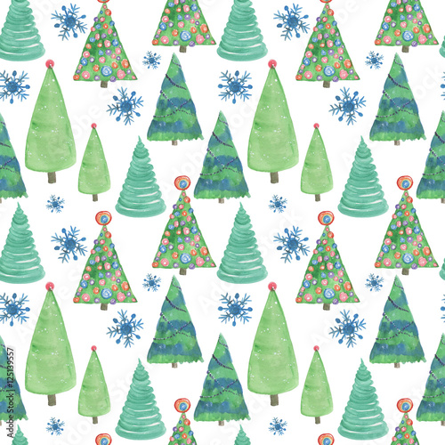 Cotton fabric Watercolor painting seamless pattern with Christmas tree