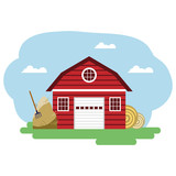 Vector illustration of red farm building and related items.
