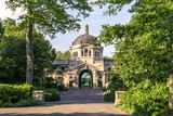 Bronx zoo center entrance.  It is the largest metropolitan zoo in the United States and among the largest in the world. - 125152163