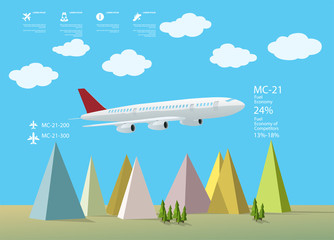 Cartoon plane info graphics with mountains