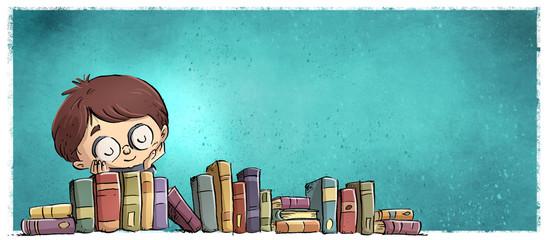 niño feliz con estanteria de libros