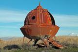 Rusty Metal Alien Spacecraft in a Field