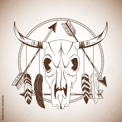 Bull skull icon Poster