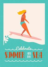 Verano del cartel de texto cita con la chica surfista en un longboard monta una onda. Cartel de la playa del estilo de vida en estilo retro.