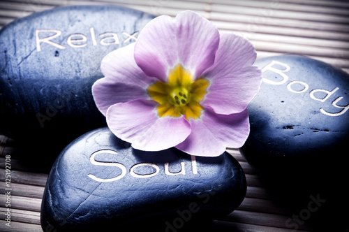 Healing stones with soul, body and relax like a concept for wellness and mindfulness