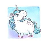 Fototapety Cartoon magic unicorn.