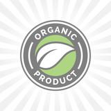 Organic product icon design. Organic product symbol. Organic product badge with leaf shape design. Vector illustration.