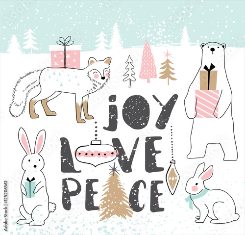 Hand drawn Christmas card with cute cartoon animals - 125206561