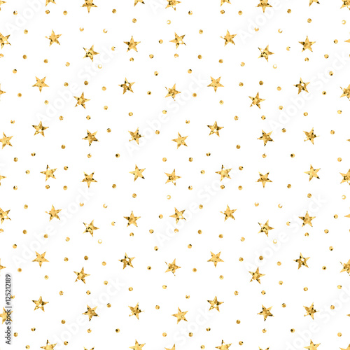Stars polka dots seamless pattern gold and white retro background. Abstract bright golden design for wallpaper, christmas decoration, confetti, textile, wrapping. Symbol holiday Vector illustration