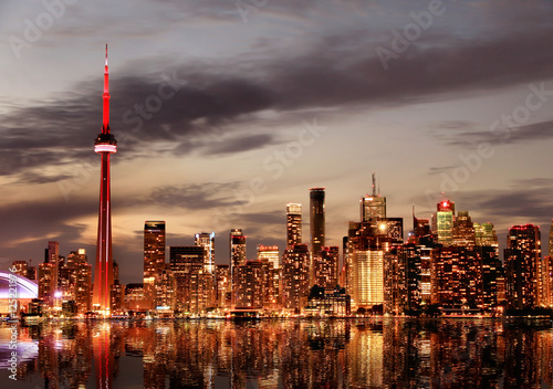 Poster Toronto Skyline at sunset, Ontario, Canada