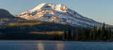 Sunset on South Sister mountain at Sparks Lake in the central Oregon Cascade Mountains