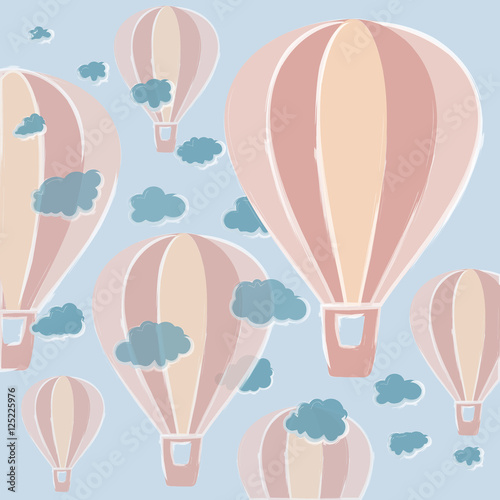 Background with hot air balloons in pastel colors executed in a decorative hand, accompanied by volume blue clouds.hot air balloons of different sizes and transparency. clouds with beautiful edges. - 125225976