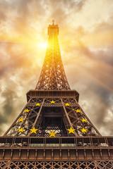 The Eiffel tower under sun light