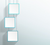 Vector 3 Blank Blue Realistic Square Hanging Frames Design