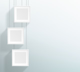 Vector 3 Blank White Realistic Square Hanging Frames Design