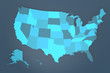 Detailed USA Map on blue Background