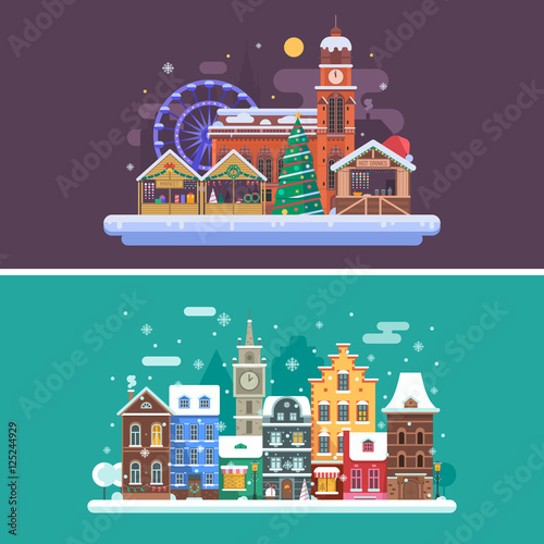 Foto op Plexiglas Aubergine Christmas city backgrounds with winter town and christmas market. Winter city street and Christmas fair flat landscape banners with traditional europe houses, cathedral, Xmas tree and souvenir shops.