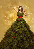 Fashion Model Christmas Tree Dress, Woman New Year Gown