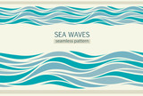 Seamless patterns with stylized waves - 125260347