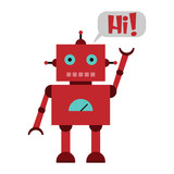 Vector illustration of a toy Robot with text HI!