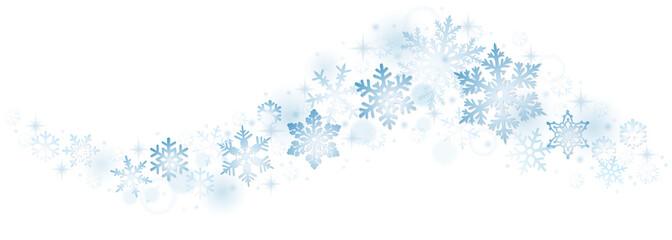 Swirl of Christmas snowflakes on white background