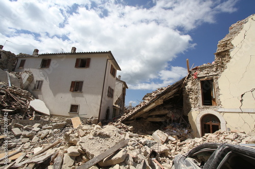 Amatrice - Italy - August 24, 2016 - The earthquake destroys the houses in the old town