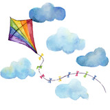 Fototapety Watercolor striped kite air set. Hand drawn vintage kite with clouds and retro design. Illustrations isolated on white background