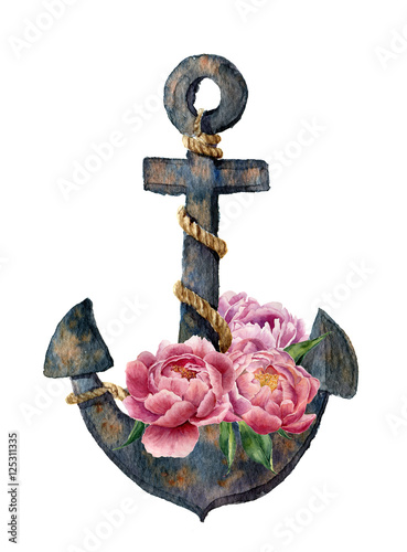 Watercolor retro anchor with rope and peony flowers. Vintage illustration isolated on white background. For design, prints or background - 125311335
