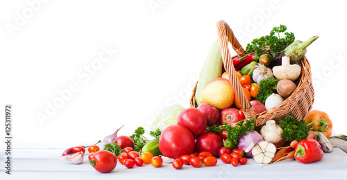 Fresh vegetables and fruits isolated on white background. - 125311972