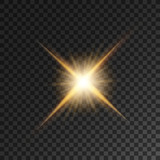 Fototapety Gold bright star light flash