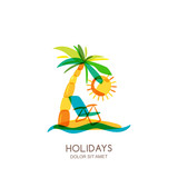 Vector logo design template. Colorful island, palms and beach chair on seaside. Concept for travel agency, tropical resort, beach hotel, spa. Summer vacation isolated hand drawn illustration. - 125313549