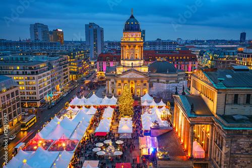 Poster Christmas market, Deutscher Dom and konzerthaus in Berlin, Germany