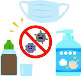 風邪予防、風邪対策用品のイラストセット