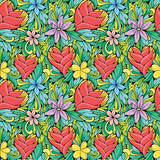 Bright romantic floral pattern with tropical flowers