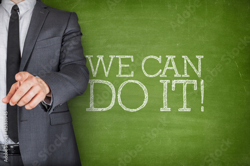 Poster We can do it on blackboard with businessman