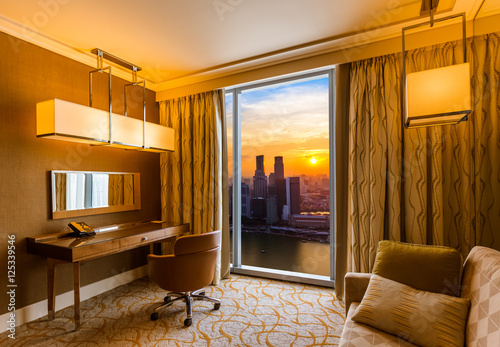 Hotel room and Singapore view Poster