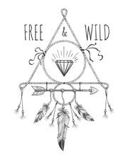 plumes boho, des flèches et vecteur de cristal ornement de conception américaine native avec texte libre et sauvage