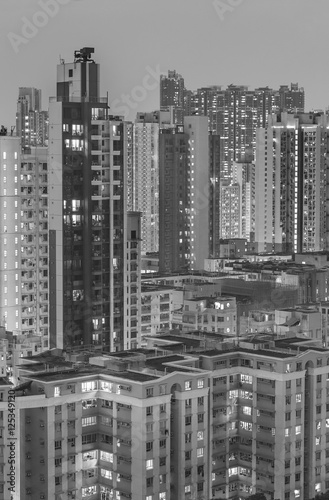 Poster High rise residential buildings in Hong Kong City