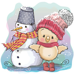 Cute Chicken and snowman