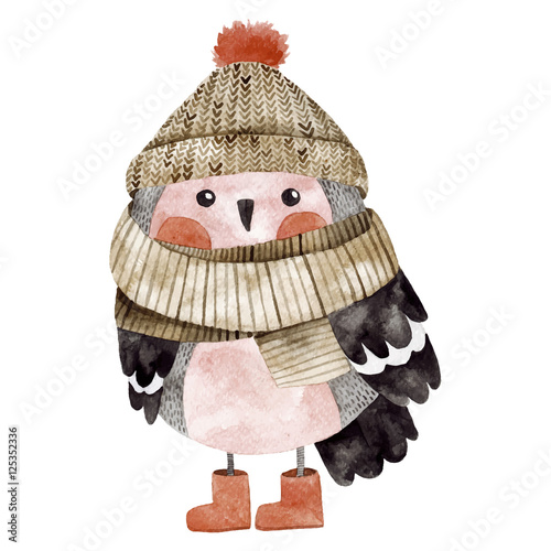 Little cute bullfinch with winter hat and scarf - 125352336