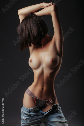 sexy naked woman with chest Poster