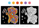 Color by number for children, Butterfly