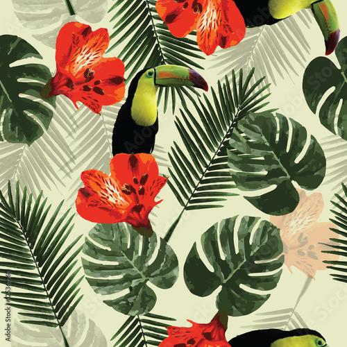 tropikalny-wzor-papuga-tukan-kwiaty