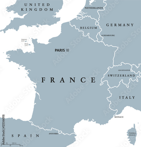 Plakát France political map with capital Paris, Corsica, national borders and neighbor countries