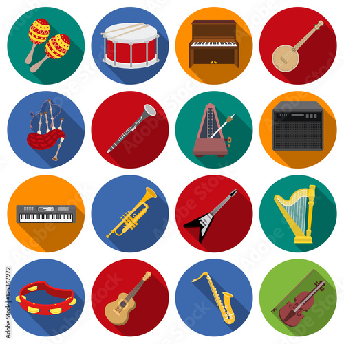 Fototapeta Musical instruments set icons in flat style. Big collection of musical instruments vector symbol stock illustration