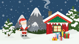 Santa at home. Beautiful scene of Santa Claus near christmas house in snow. Winter landscape with mountains and snow.
