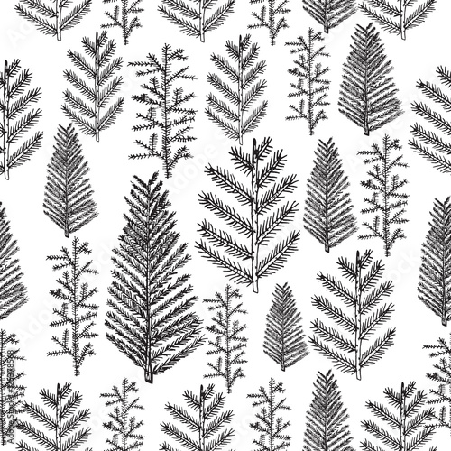 Materiał do szycia Seamless pattern with christmas tree and pine fir branches, hand drawn vector illustration, winter holiday background