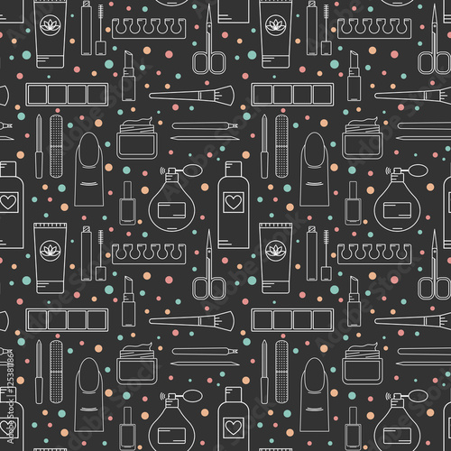 Materiał do szycia Seamless vector pattern cosmetics and manicure. Color line style