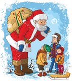 Santa with children. Christmas cartoon illustration
