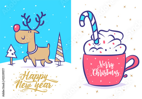Aluminium Hipster Hert Funny new year set . Christmas greeting card background poster. Vector illustration.